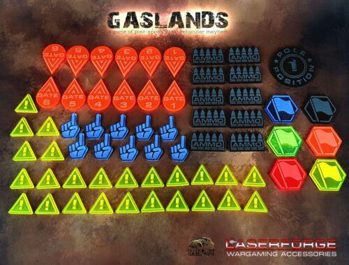 GASLANDS: MISC.TOKENS - VOTE, HAZARD, AMMO, FLAG, GATES - Acrylic - Colour Coded