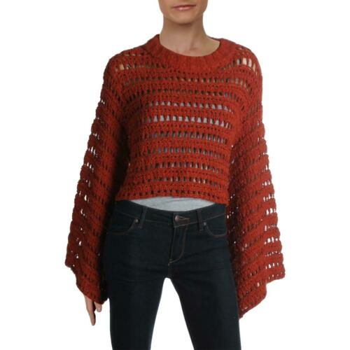 Free People Womens Caught Up Crochet Bell Sleeve Crop Top Sweater BHFO 6075