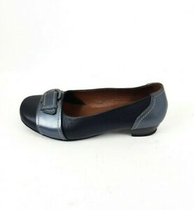 Hotter-Darcey-Metallic-Blue-Leather-Buckle-Detail-Comfort-Shoes-Size-UK-6-5