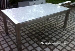 Gartentisch Wohnzimmertisch 220x100 Naturstein Hell Gestell