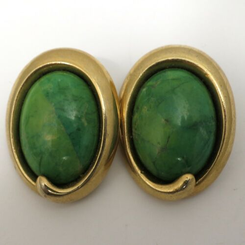 Vintage Earrings Large Green Stone Clip On