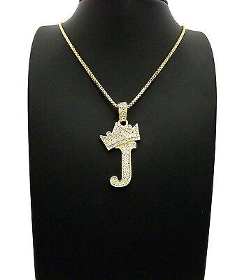 "Iced Out Tilted Crown Alphabet J Pendant 24/""Various Chain Hip Hop Necklace XZ182"