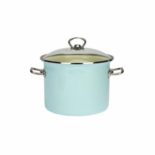 Deep Enamel Stainless Steel 18 cm Stock Pot 3L Stew Casserole Cooking Pan Blue