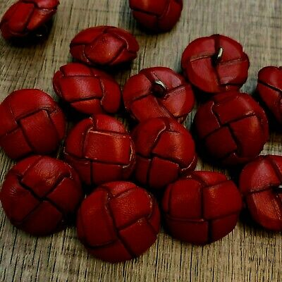 5 Red leather look football coat jacket buttons shank on back 5 sizes