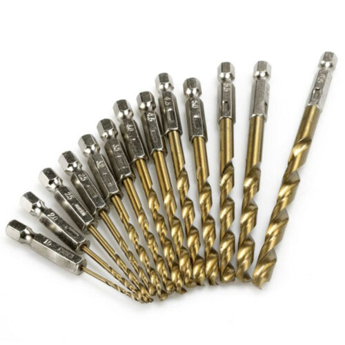 13pcs High Speed Steel Titanium Coated Drill Bit Set Hex Shank 1.5-6.5m S6A5 2X