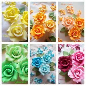 zuckerblumen 66 zucker blumen fondant rosen tortendeko hochzeit tortenaufleger ebay. Black Bedroom Furniture Sets. Home Design Ideas