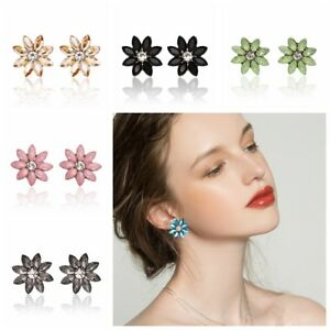 Mujer-Pendientes-de-boton-Cristal-Perlas-Aretes-Joyeria-Ear-Stud-Earrings-hgf