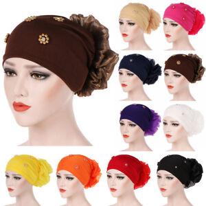 Hair Loss Head Scarf Turban Cap Muslim Women Cancer Hijab Large Flower Hat Chemo