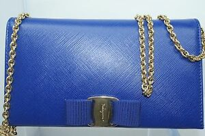 5db58724a522 Image is loading New-Salvatore-Ferragamo-Vara-Bow-Chain-Wallet-Clutch-