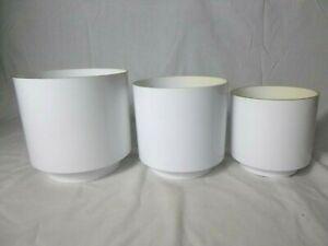 Set of 3 Vtg 70's MOD White LawnWare Plastic Plant Pots Planters