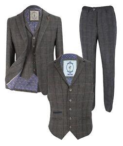 Men-039-s-Herringbone-Check-Tweed-Peaky-Blinders-Grey-Blazer-Waistcoat-Trousers