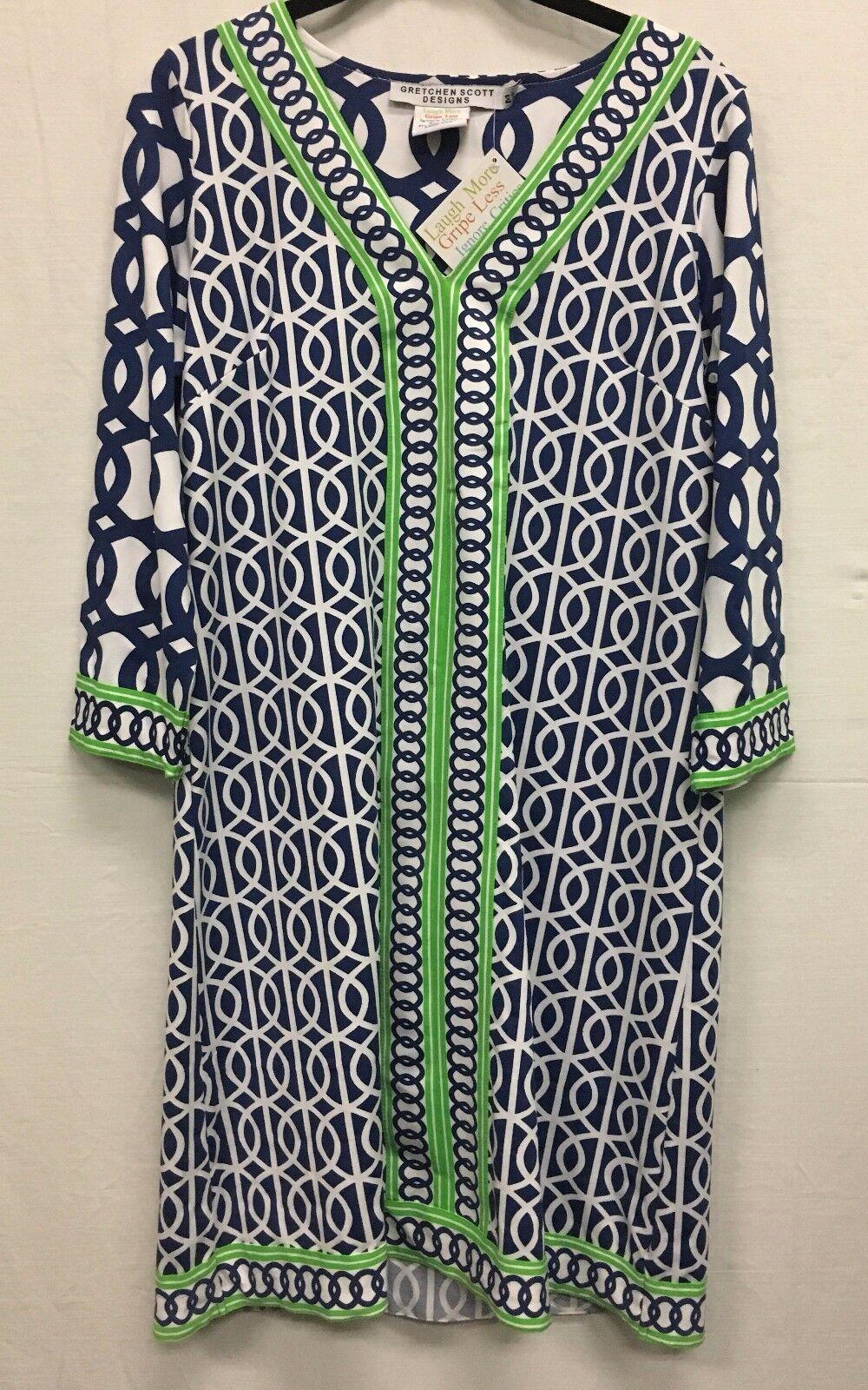 Gretchen Scott Split Cuello  Jersey Vestido Túnica Azul Marino blancoo Lima círculos impresión  nuevo   precio razonable