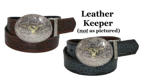 ~KID/'S WESTERN BELT ~ Tooled Leather Removable Silver Buckle Cowboy