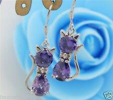 Boucles d'oreilles plaque Argent 925 pierre Zirconium couleur Violet-motif: Chat