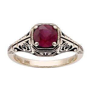 10k-Yellow-Gold-Vintage-Style-Genuine-Round-Ruby-Filigree-Ring