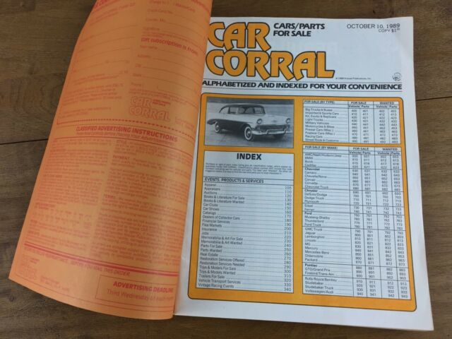 Vintage Car Corral Cars Parts For Sale Classifieds Catalog Magazine 10 10 89 Ebay
