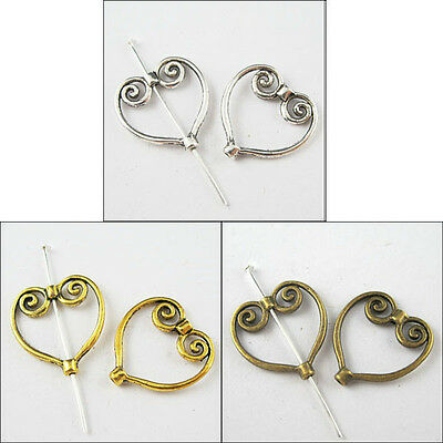 40pcs New Charm Tibetan Silver Heart Wing Frame Spacer Beads Silver/Gold/Bronze