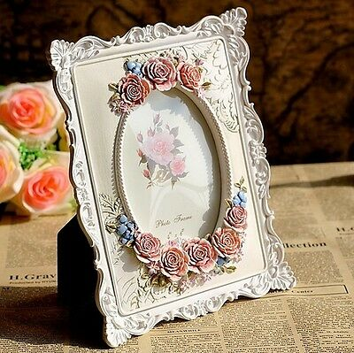 Retro Vintage Rose Flower Home Decor Photo Frame Picture Resin 4'' x 6''