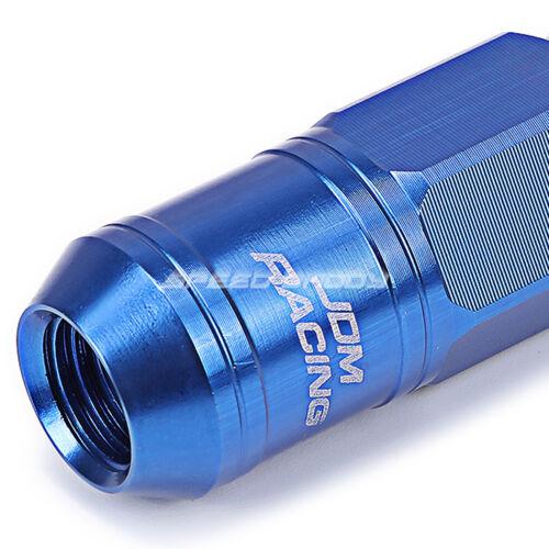 OPEN END BLUE ALUMINUM SPLINE STYLE 16LUG+4LOCK NUT+KEY M12X1.5 50MM 21MM OD