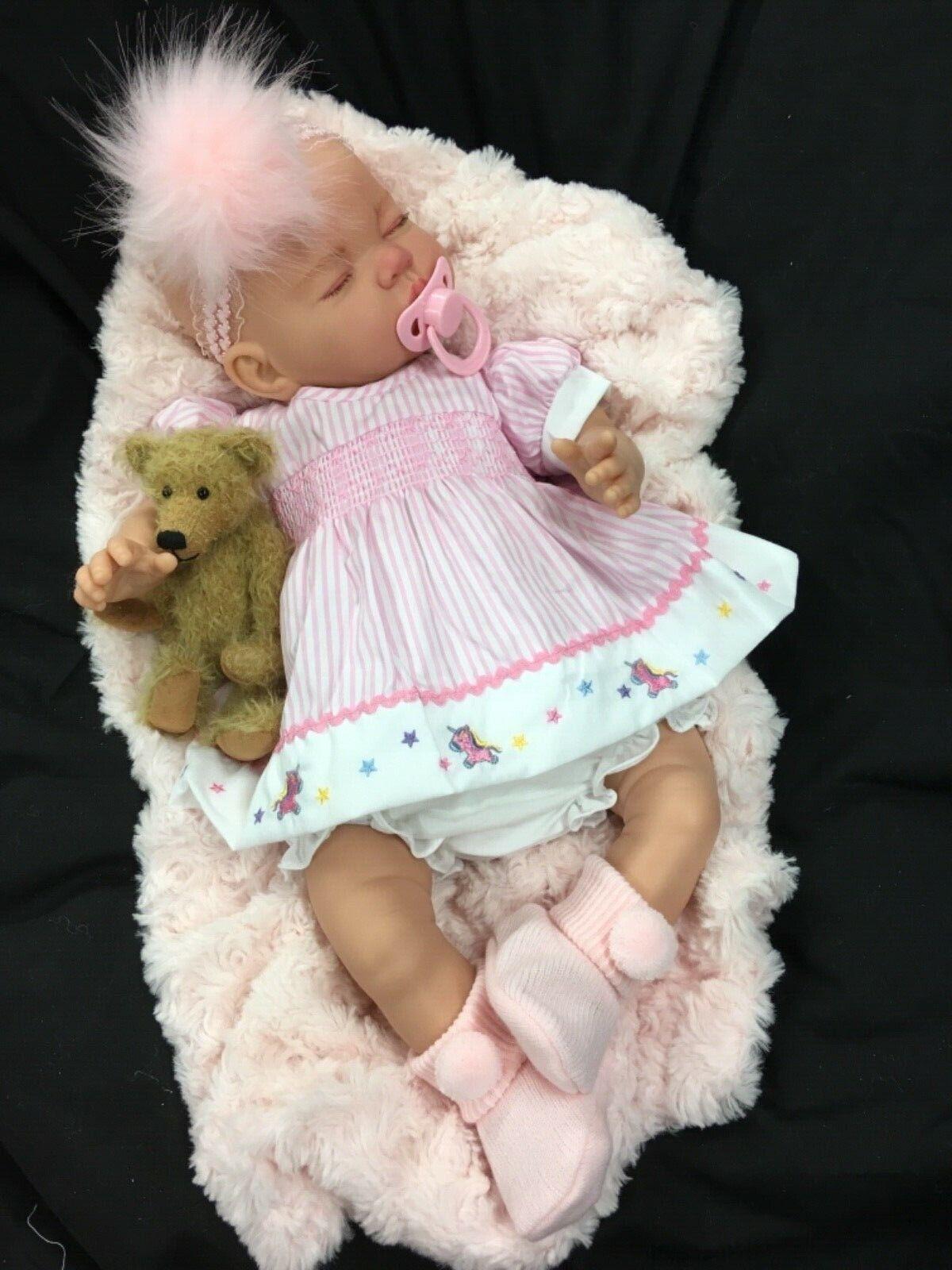Splendido neonato RINATO BABY GIRL spagnolo con unicorno ABITO P M