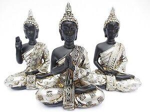 3er-Set-Thai-Buddha-in-silber-schwarz-Figur-Dekofigur-Hoehe-ca-11-5-cm