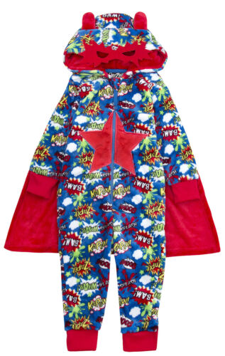 Boys Girls 3D Novelty All In One Onezee Dress Up Fleece Kids Pyjamas PJs