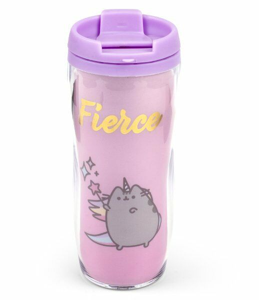 Pusheen Unicorn Fierce Travel Mug With Lid Plastic Purple