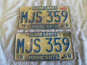 1968 License Plates Minnesota Automobile Vintage 10,000 Lakes