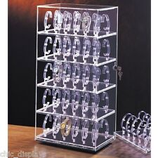 ROTATING WATCH CASE ACRYLIC DISPLAY CABINET SHOWCASE COUNTERTOP CASE 60 WATCHES