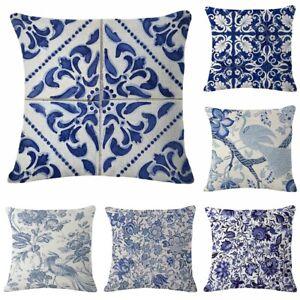 Blue White Porcelain 18inch Cotton Linen Pillow Case Cushion Cover Home Decor