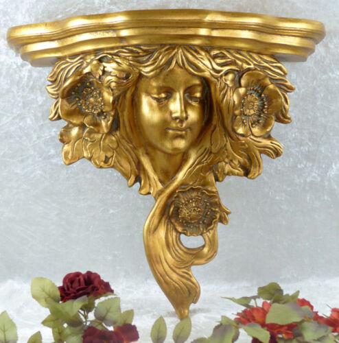 Wandkonsole Jungfrau Barock Hängekonsole Frau Regal Wandregal Konsole Antik gold