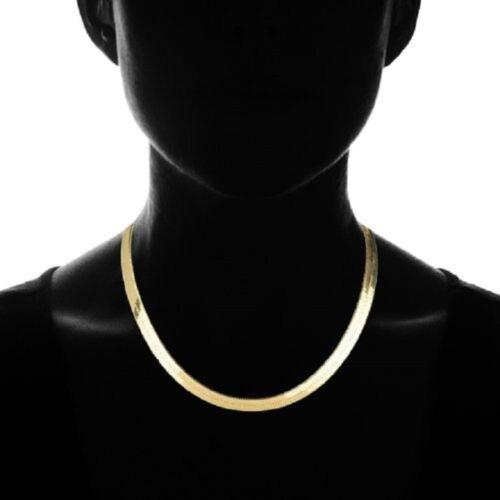 14K Gold Flat Herringbone Chain Necklace
