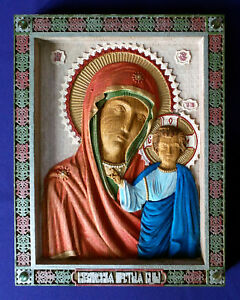 WOODEN-CARVED-HAND-PAINTED-ORTHODOX-ICON-WITH-NATURAL-GEMS-MOTHER-OF-GOD