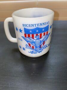Vintage-GLASBAKE-Milk-Glass-Mug-USA-Bicentennial-1776-1976-America-Coffee