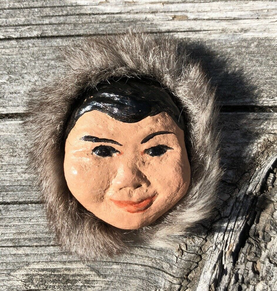 Rare 1940's Vintage Ceramic ALASKA Eskimo Rare Brooch Pin With Real Fur Stamped