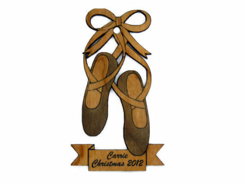Personalized Ballerina Shoes Wooden Christmas Ornament FREE SHIPPING