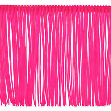 """6"""" Neon Hot Pink Chainette Fabric Fringe Lampshade Lamp Costume Trim by the Yard"""