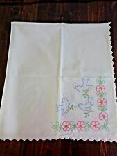 "VINTAGE TABLECLOTH 40"" x 36"" White Crochet Edge Blue Birds Pink Morning Glory"