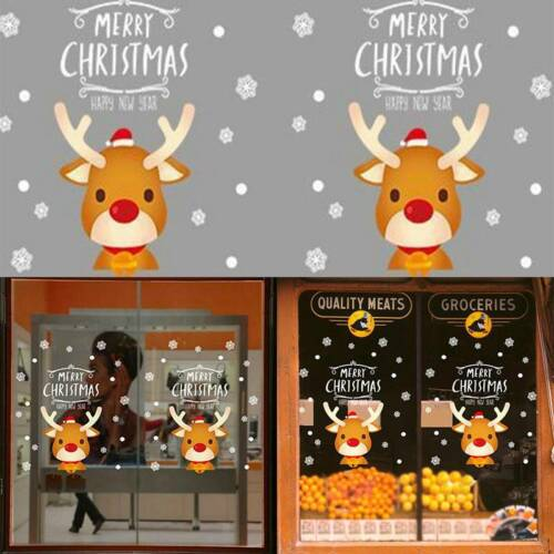 Christmas Stickers Window Mirror Decals self adhesive Shop Home Decor