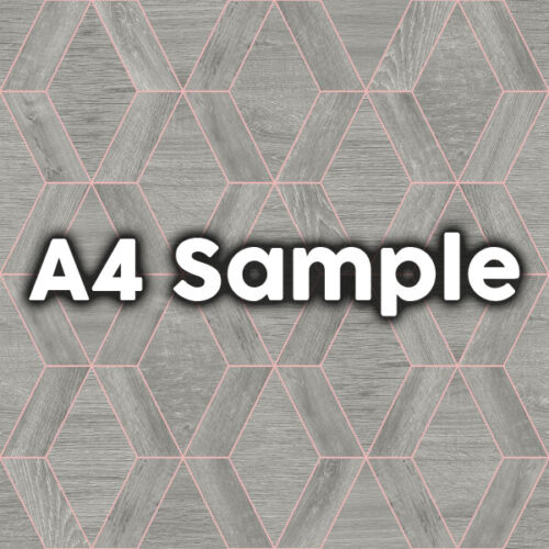 Geometric Design Wood Effect Paste the Wall Wallpaper 92 Grey /& Copper
