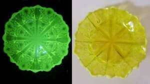 George-Davidson-039-Lady-Chippendale-039-Yellow-Uranium-Pearline-Vaseline-Glass-Bowl