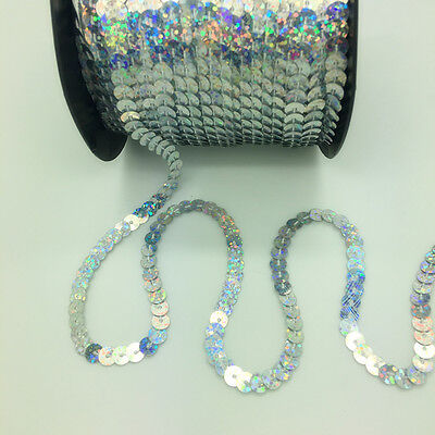 New 5 Yards 6mm DIY Shiny Faceted Loose Sequins Paillettes Sewing Wedding Crafts