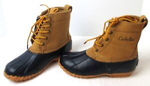 da3781abd38 Details about Women's Cabela's 400-Gram Lace Up Oil Tanned Leather & Navy  Rubber Duck Boots