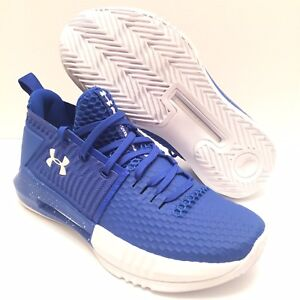 603ab024c6d1 Under Armour Mens UA Drive 4 TB Low Top Basketball Shoe Blue White ...