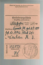 1940 Germany Dachau Concentration Camp money order Receipt KZ Johan Lipinski