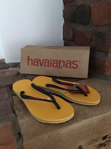 Tout Neuf Havaianas Amarelo Homme Femme Ballerines Taille 5-6
