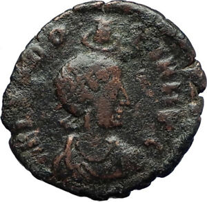 EUDOXIA-Arcadius-Wife-401AD-Authentic-Ancient-Roman-Coin-VICTORY-CHI-RHO-i69911