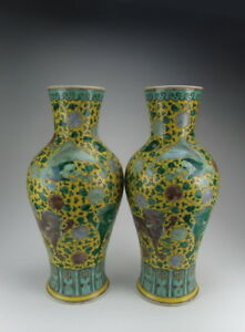 Pair-of-Later-Chinese-Antique-Plain-Tri-colored-Porcelain-Vases
