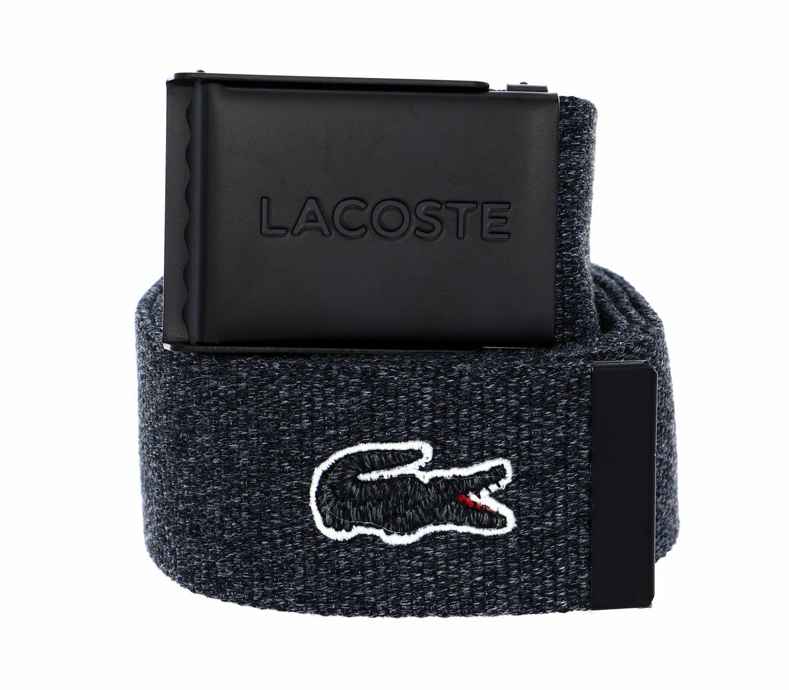 LACOSTE Woven Strap W110 Gürtel Accessoire Noir Chine Grau Neu