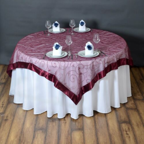 """20 Pack 72/""""x72/"""" Embroidered Organza Overlay Wedding Party Banquet 20 Colors!"""